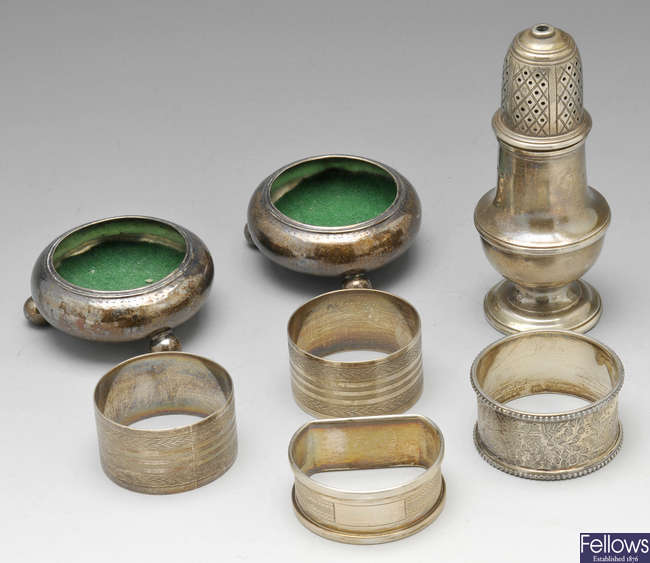 A selection of mostly Victorian cruet items.