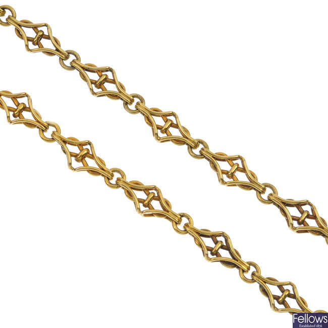 A mid 20th century 18ct gold continental fancy-link chain.