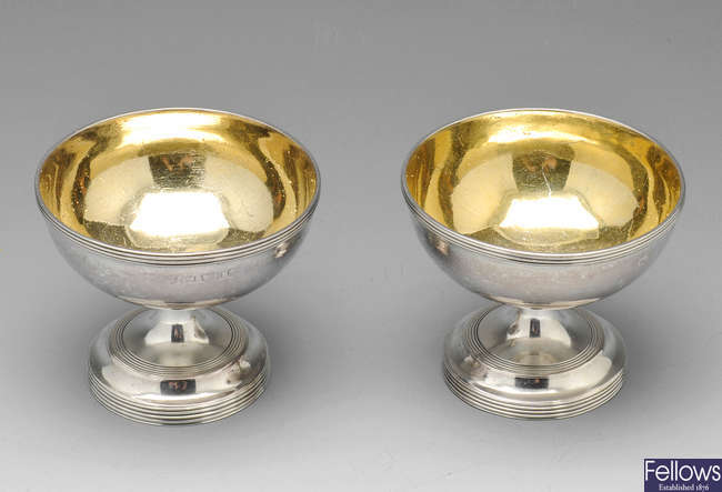 A George III pair of silver open salts.