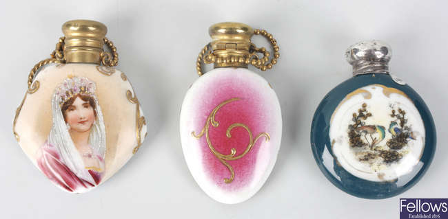 Three porcelain scent flasks