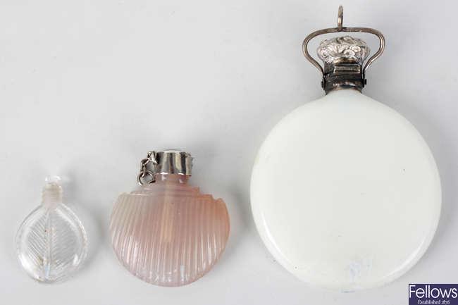 Three glass scent bottles
