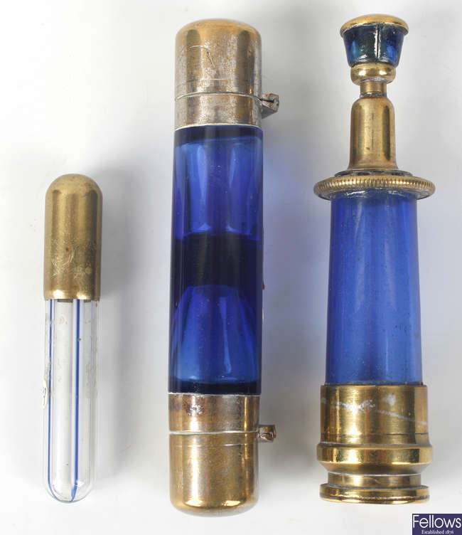 Two 'Bristol'  blue glass scent bottles plus another