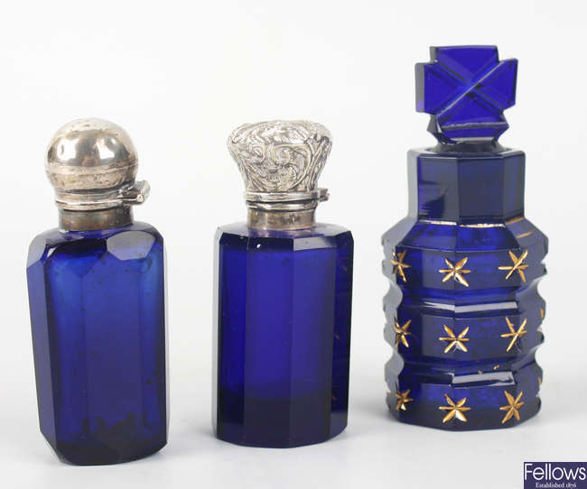 Three 'Bristol' blue glass scent bottles