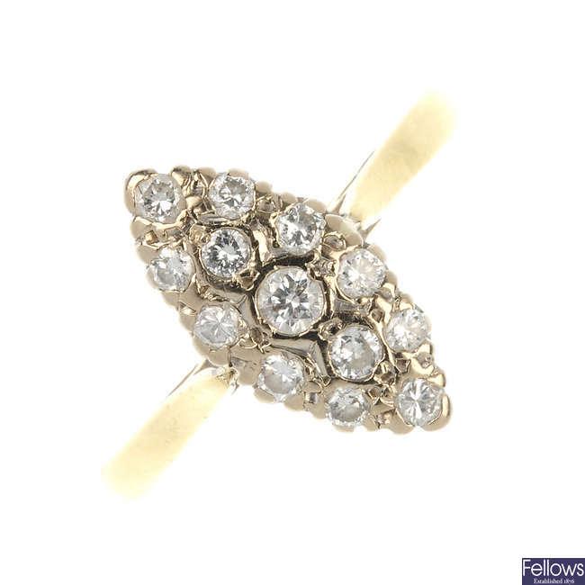 An 18ct gold diamond panel ring.
