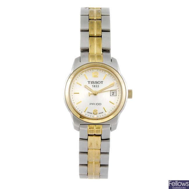 TISSOT - a lady's PR100 bracelet watch.