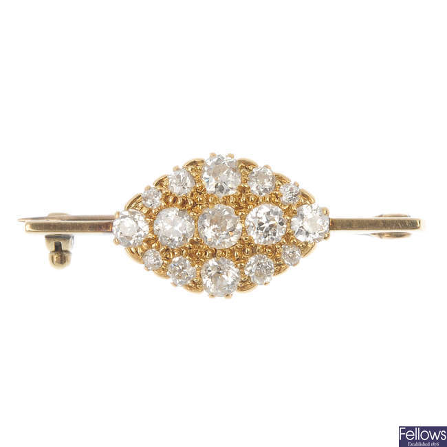 An early 20th century gold diamond brooch.