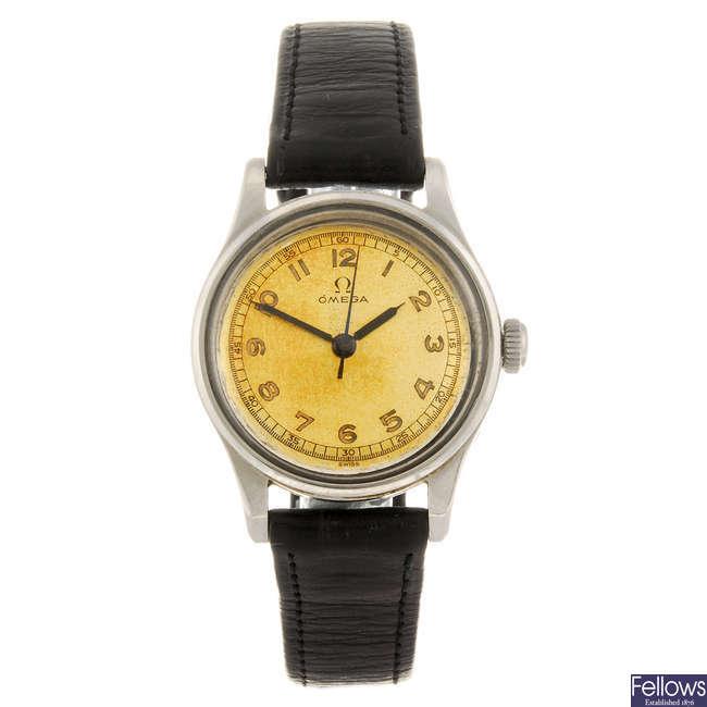 (7103) OMEGA - a gentleman's wrist watch with a lady's Omega bracelet watch..