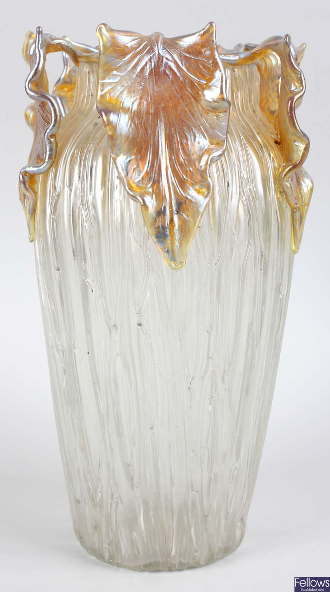 A large Art Nouveau iridescent glass vase attributed to Loetz