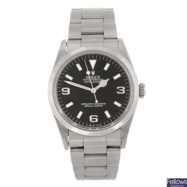 ROLEX - a gentleman's Oyster Perpetual Explorer I bracelet watch.