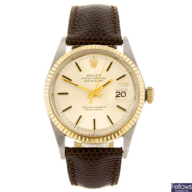 ROLEX - a gentleman's Oyster Perpetual Datejust wrist watch.