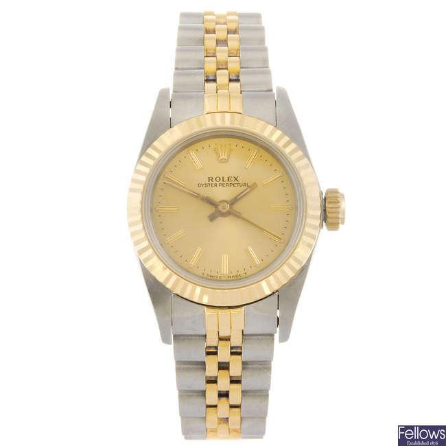 ROLEX - a lady's Oyster Perpetual bracelet watch.