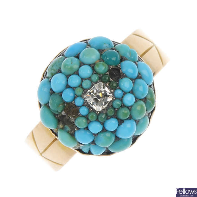 A late 19th century 15ct gold diamond and turquoise ring.