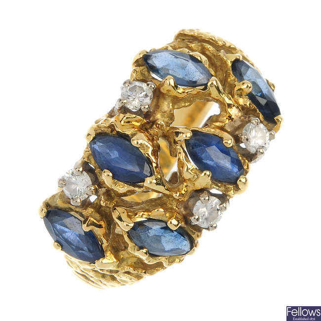 A 1970s 18ct gold sapphire and diamond dress ring.