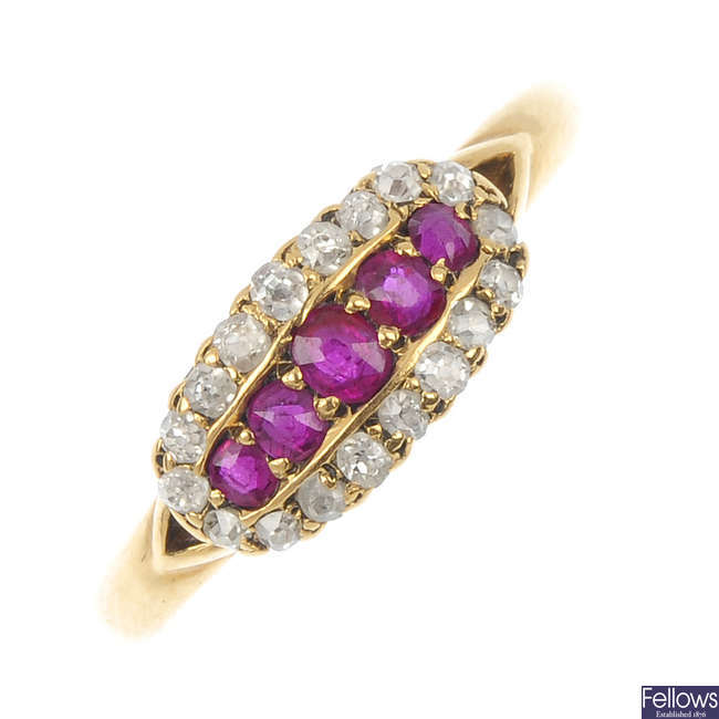 An early 20th century 18ct gold ruby and diamond panel ring.
