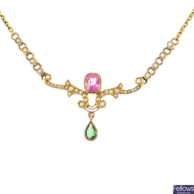 An early 20th century 9ct gold gem-set and split pearl necklace.