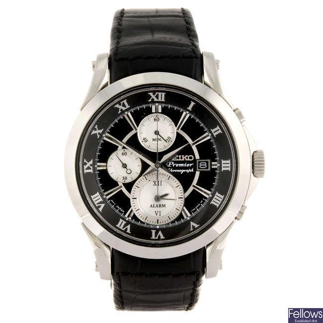 SEIKO - a gentleman's Premier Alarm Chronograph wrist watch.