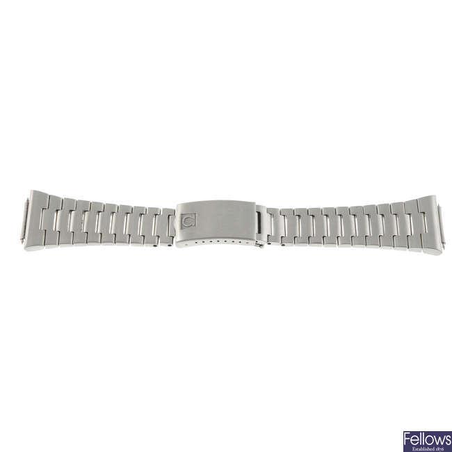 A stainless steel Omega bracelet.