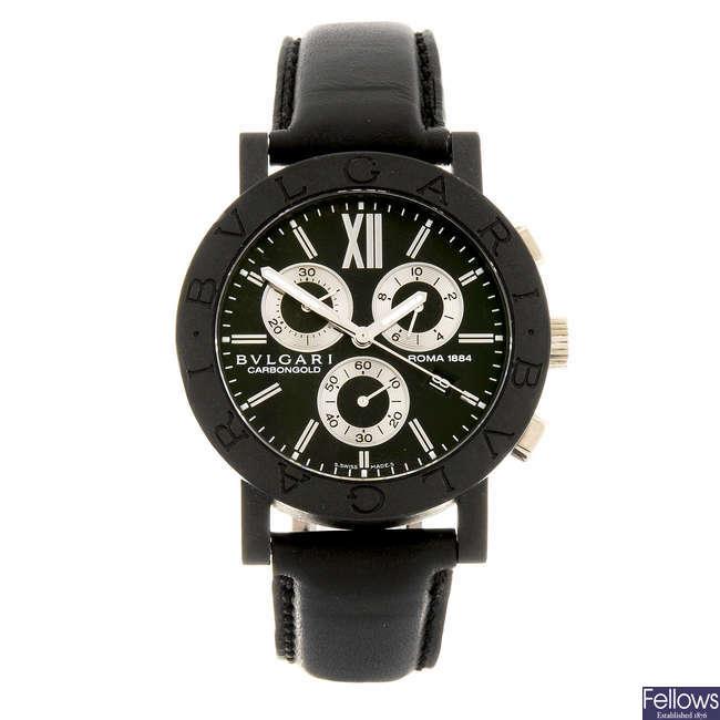 BULGARI - a gentleman's Carbongold Roma 1884 chronograph wrist watch.
