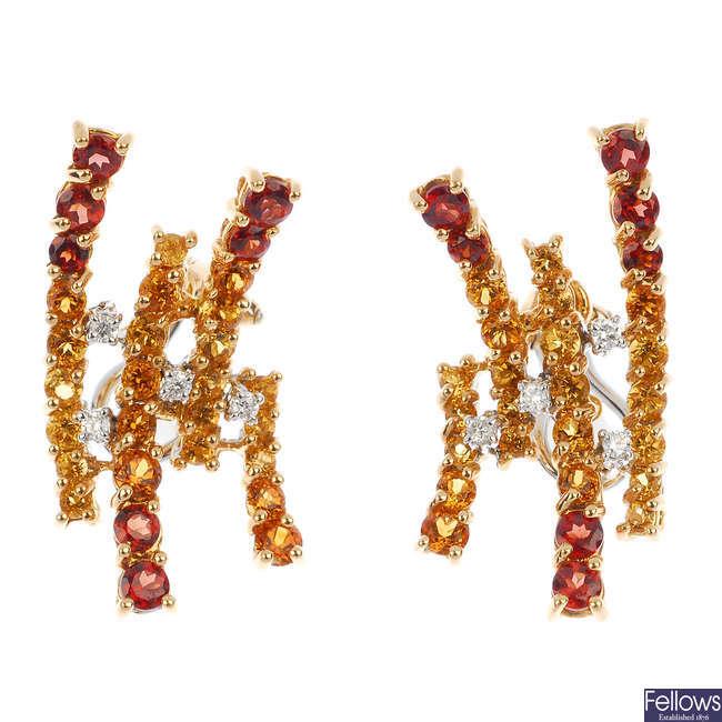 ALFIERI & ST. JOHN - a pair of diamond and gem-set earrings.