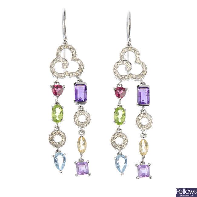 A pair of diamond and multi-gem ear pendants.