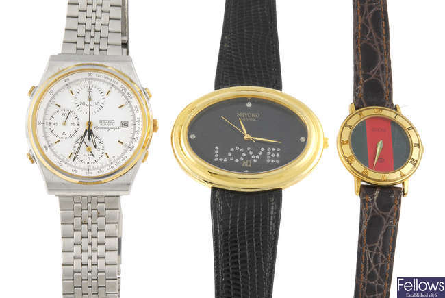 A bag of various wrist watches.