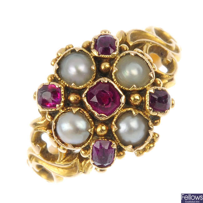 A mid Victorian 15ct gold ruby and split pearl ring.