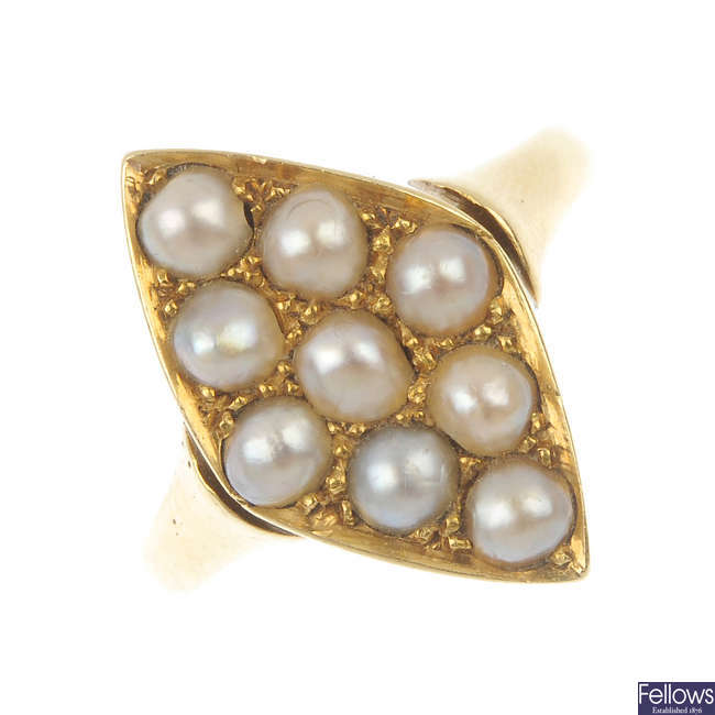 A late 19th century 18ct gold split pearl ring.