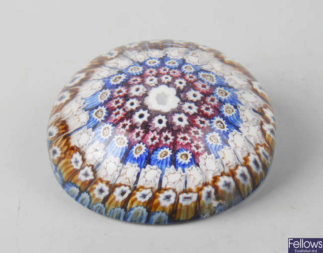 An Old English close packed millefiori paperweight