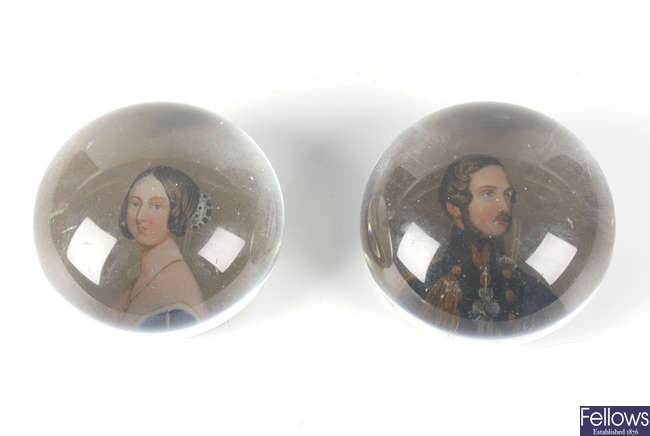 An unusual pair of Royal commemorative paperweights