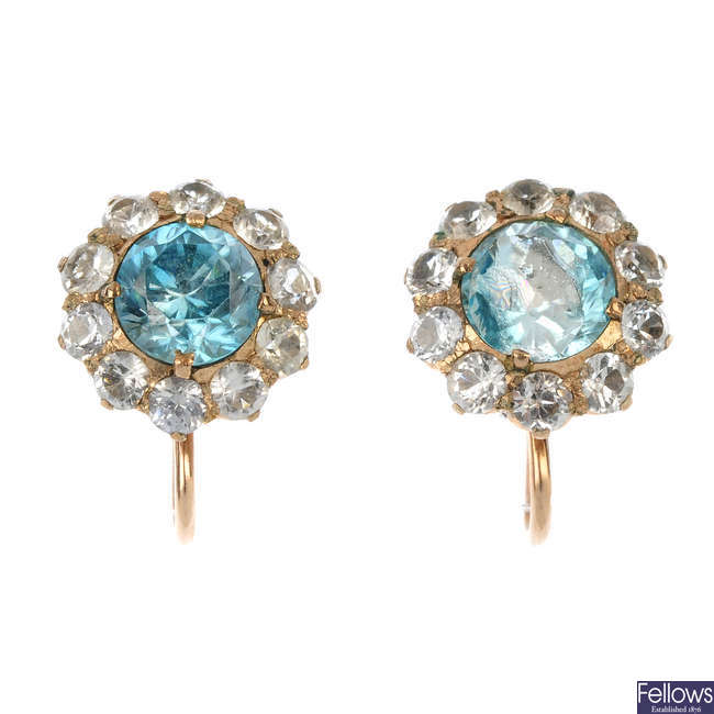 A pair of mid 20th century 9ct gold zircon and paste cluster earrings