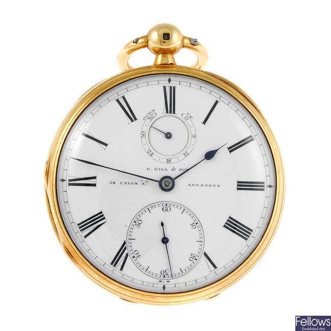 An open face pocket watch by D. Gill & Son, Aberdeen.