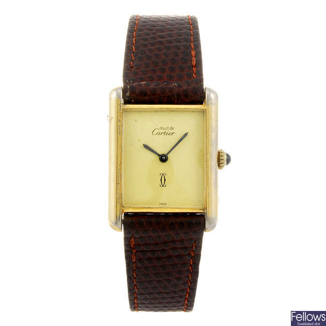 CARTIER - a Must de Cartier Tank wrist watch.