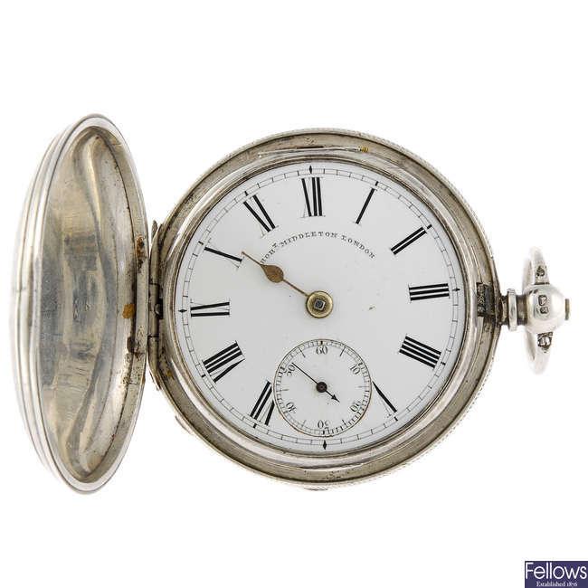 A full hunter pocket watch by Robert Middleton.