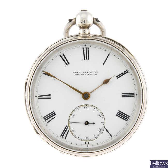A silver open face pocket watch by John Churcher.