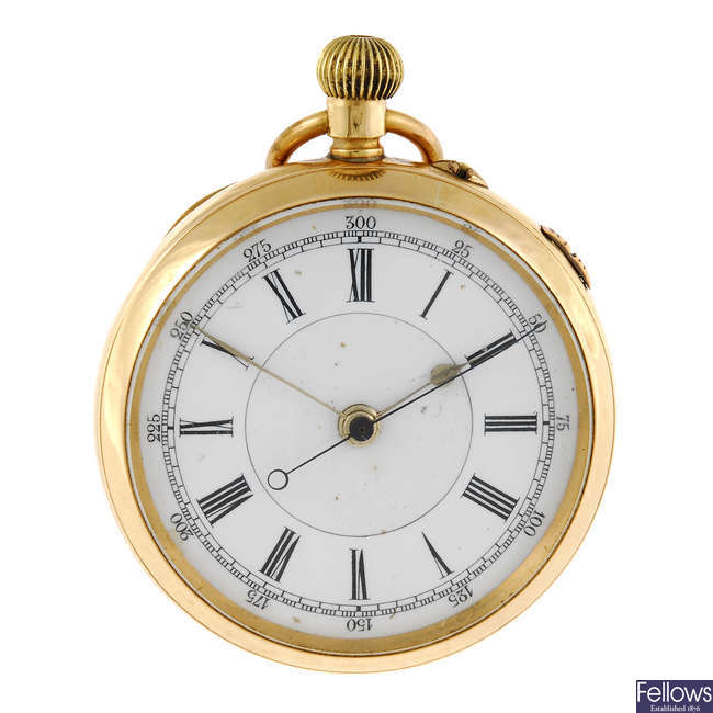 An open faced centre seconds pocket watch.
