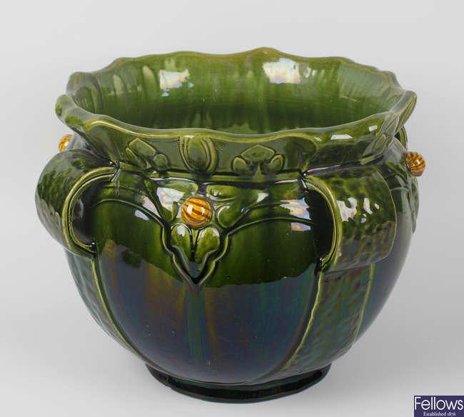 A Bretby majolica pottery jardiniere or planter