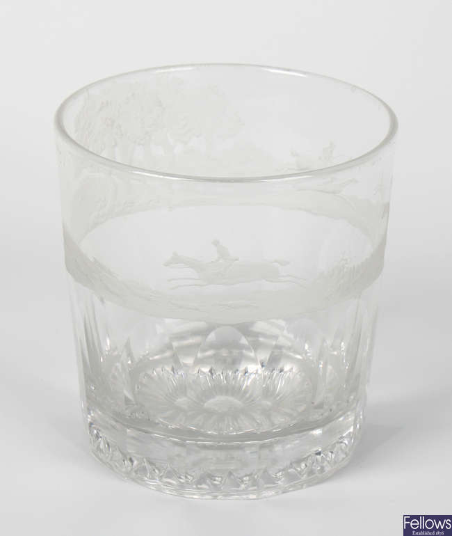 Hunting interest: An early to mid 19th century engraved glass tumbler