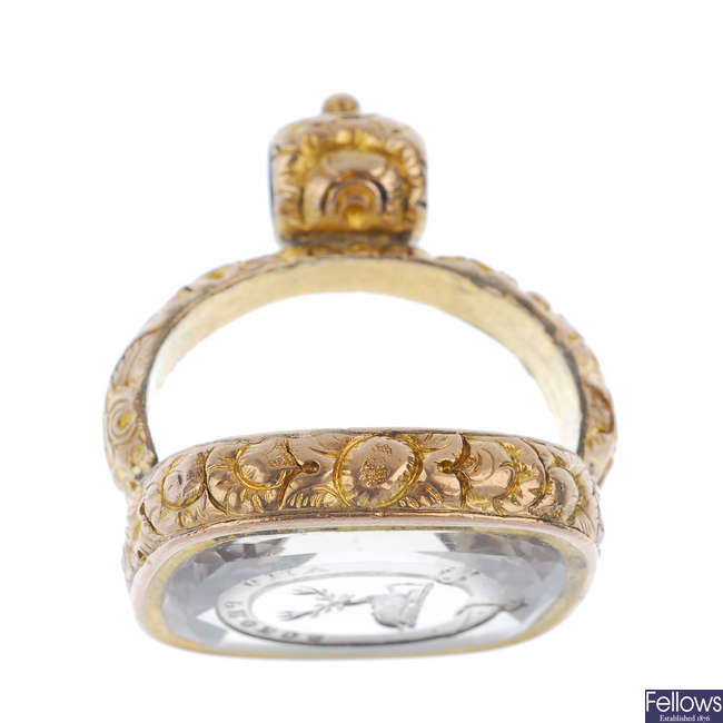 A late 19th century rock crystal fob.