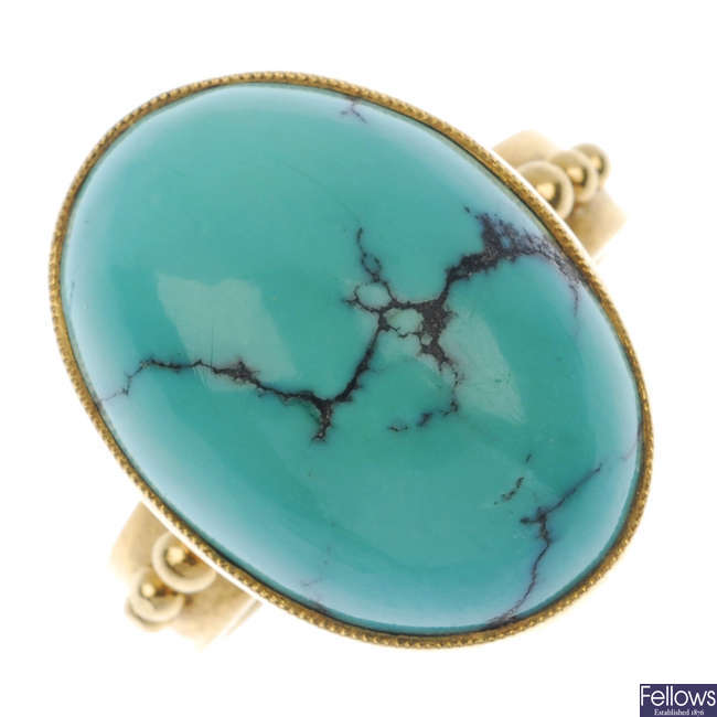 An early 20th century Swedish 18ct gold turquoise dress ring.