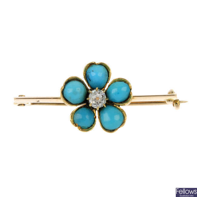 A late 19th century gold turquoise and diamond flower bar brooch.