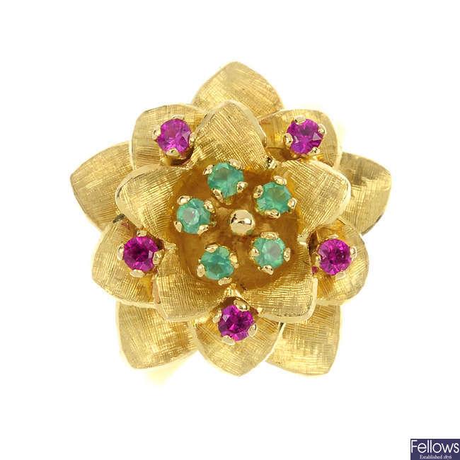 A 1970s gem-set floral ring.