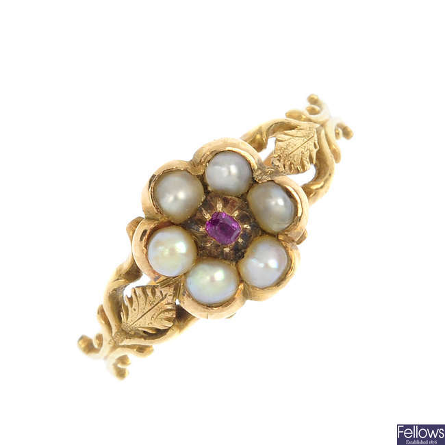 A late 19th century gold split pearl and ruby memorial ring.