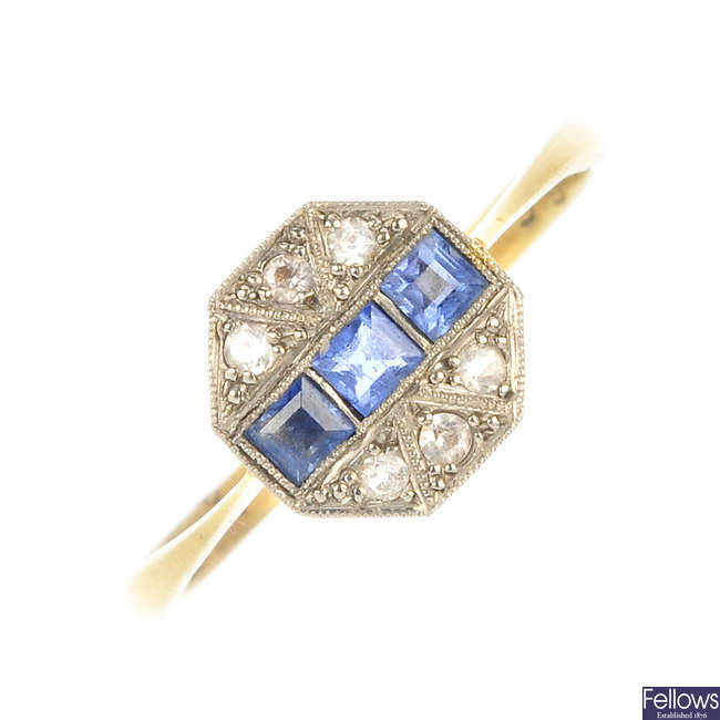 An Art Deco 18ct gold sapphire and diamond ring.