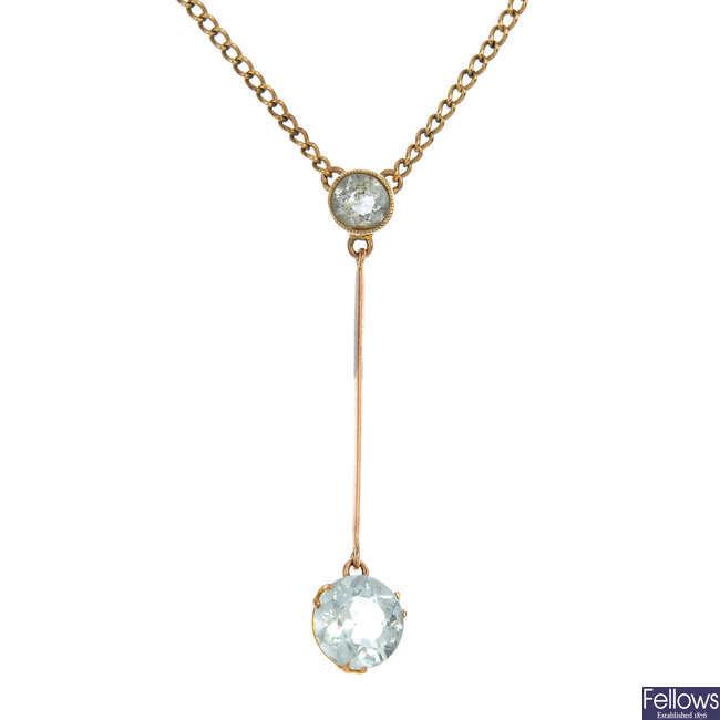 An early 20th century 9ct gold aquamarine pendant.
