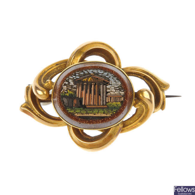A late 19th century gold micro-mosaic brooch.