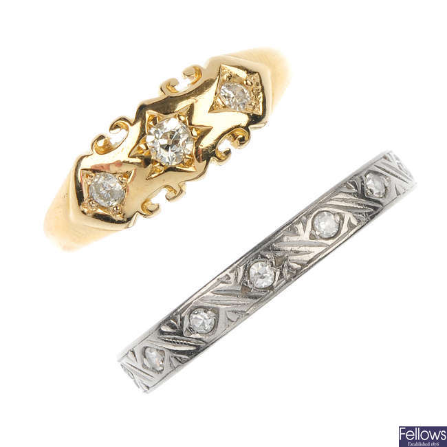 Two late 19th to mid 20th century diamond rings.