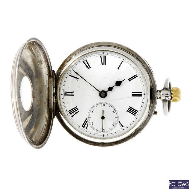 A silver half hunter pocket watch.