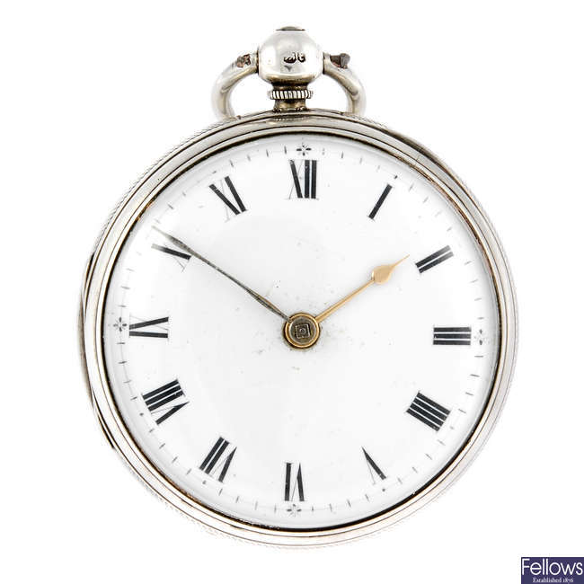 An open faced pocket watch by R. Roskell.