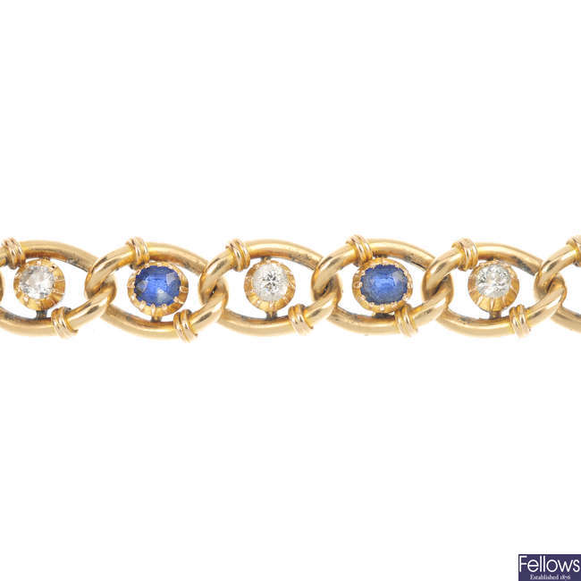 A late 19th century 15ct gold sapphire and diamond bracelet.