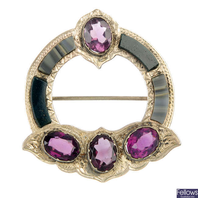 A late 19th century Scottish paste and hardstone brooch